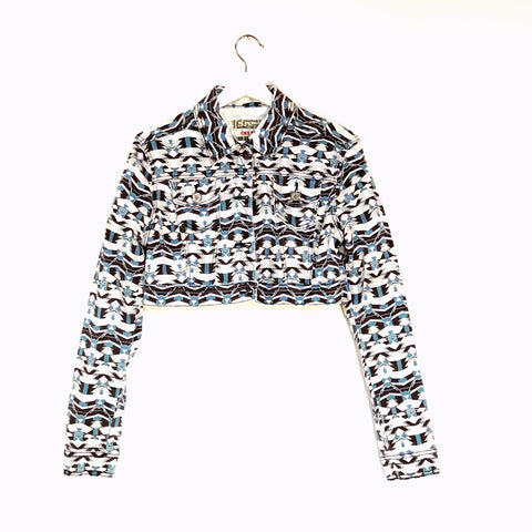 Tribal print cropped jean jacket