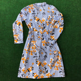 Who What Wear blue striped and floral print cotton dress