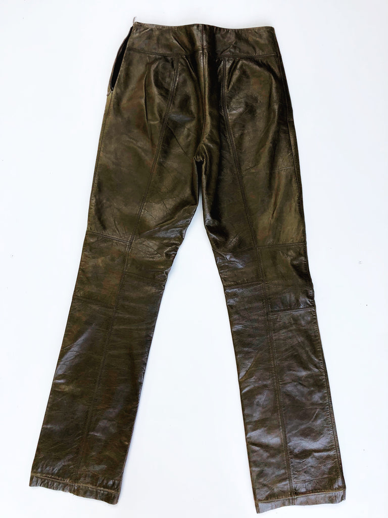 Halogen army green leather pants