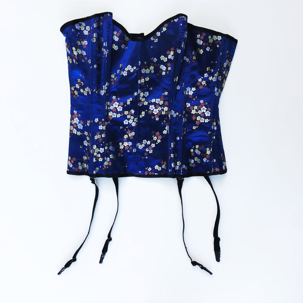 Blue corset with oriental floral print