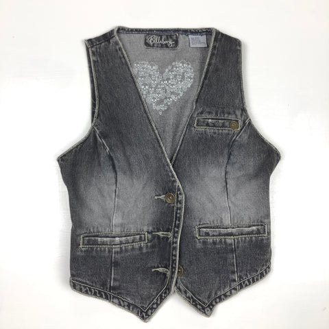 Billabong distressed black jean vest