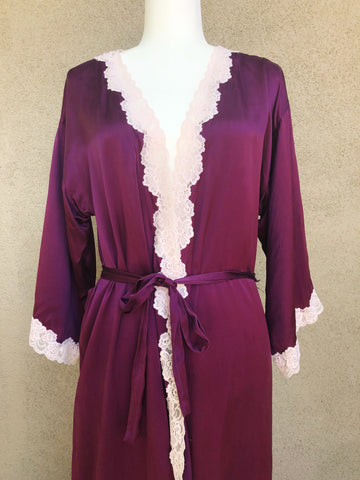Purple silk robe with lace trim