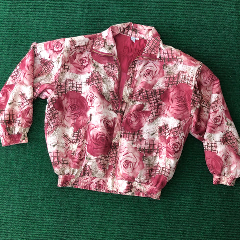 1980s silk rose patterned bomber jacket