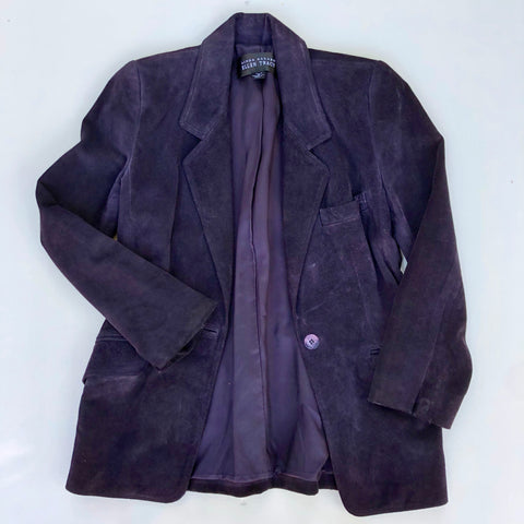 Linda Allard Ellen Tracy purple suede leather jacket