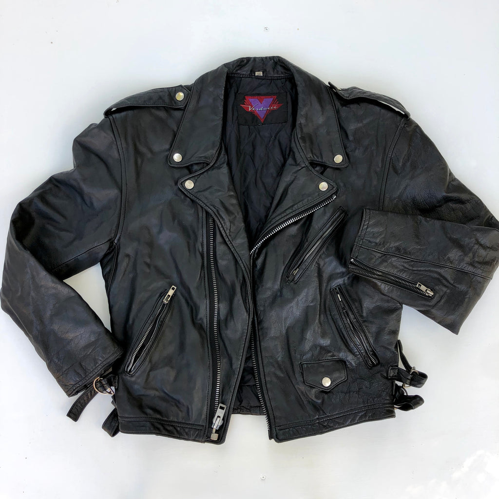 Verducci black leather motorcycle jacket