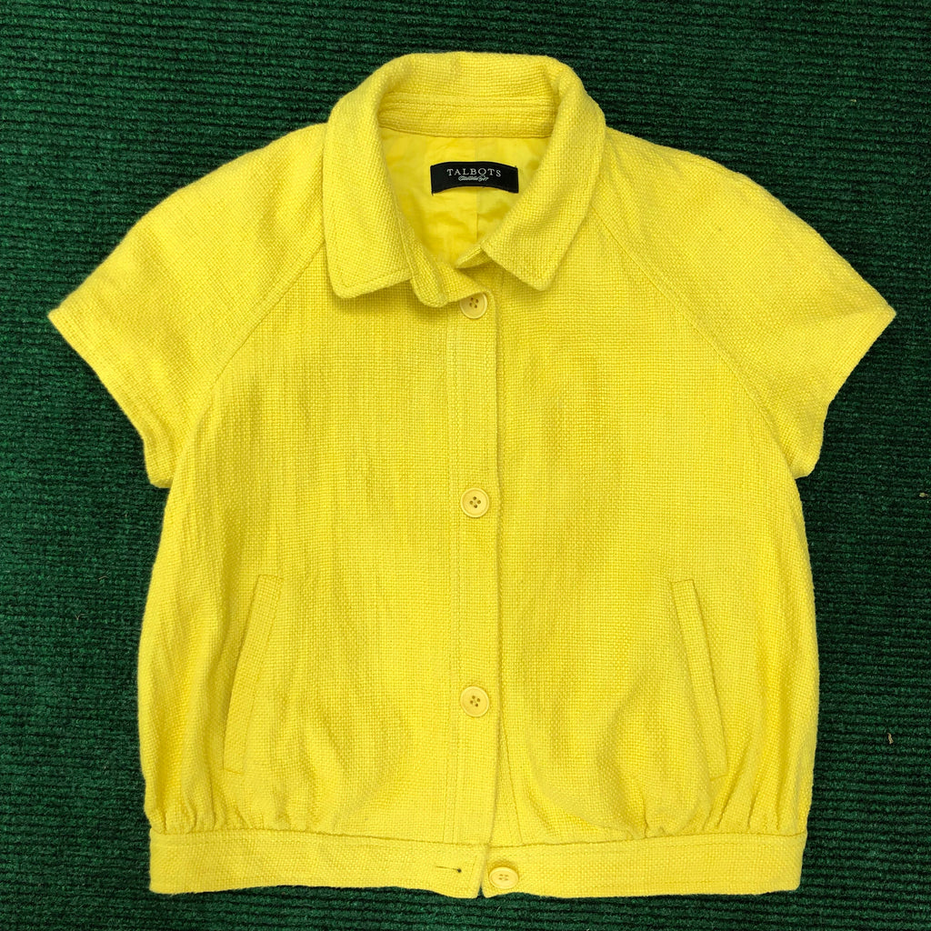 Talbots mustard yellow short sleeve jacket