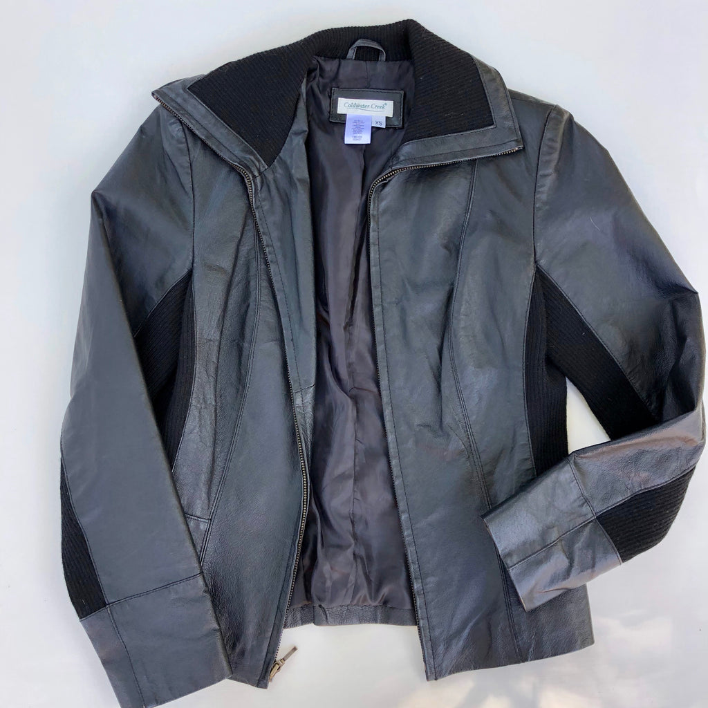 Coldwater Creek leather and knit jacket