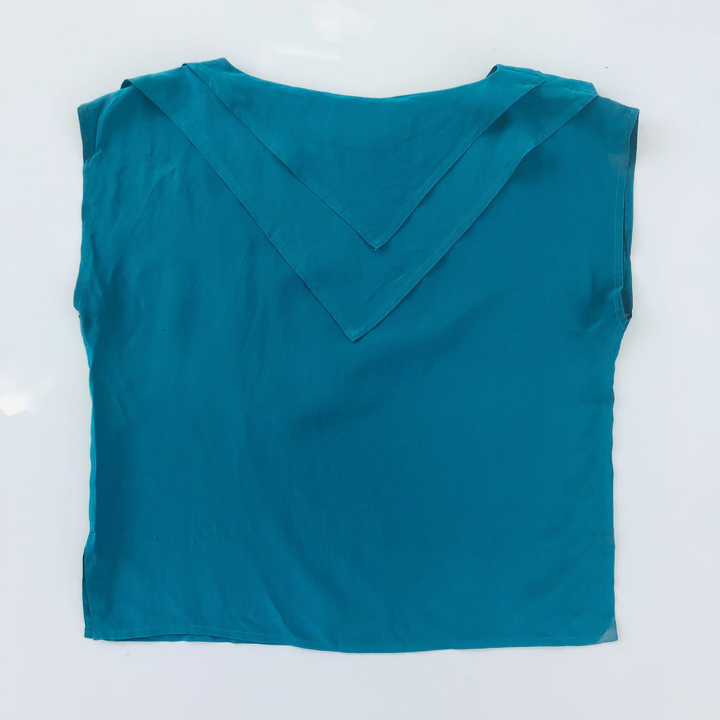 Teal blue boat neck silk blouse