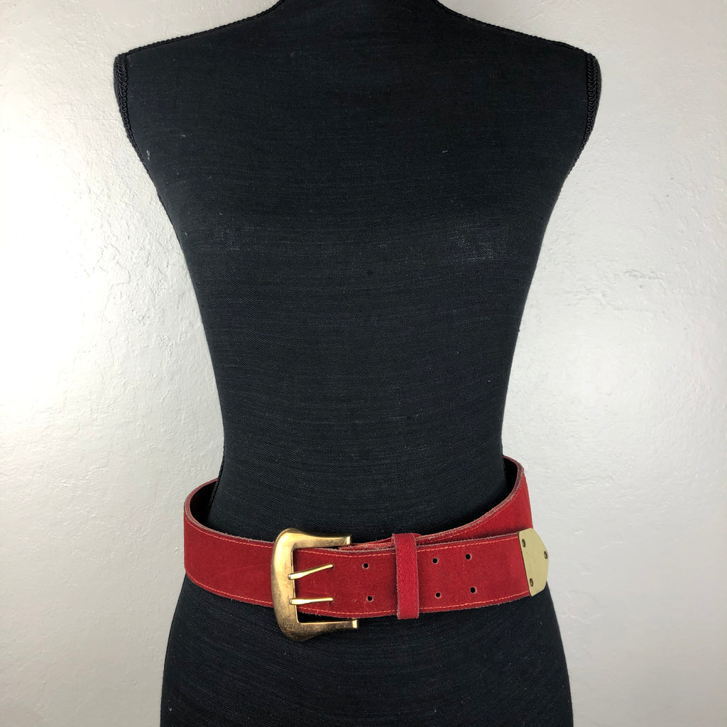 Saks Fifth Avenue brushed red leather belt with double buckle