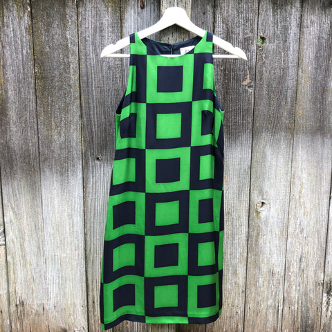 Milly green and blue checked silk dress
