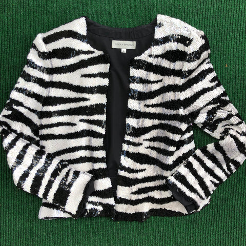 Sequined zebra print jacket
