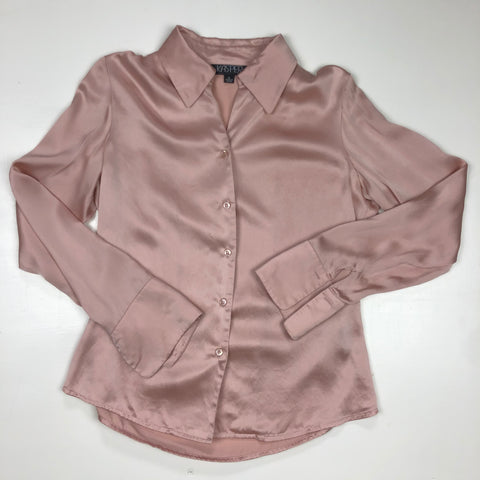 Light pink long sleeve silk blouse