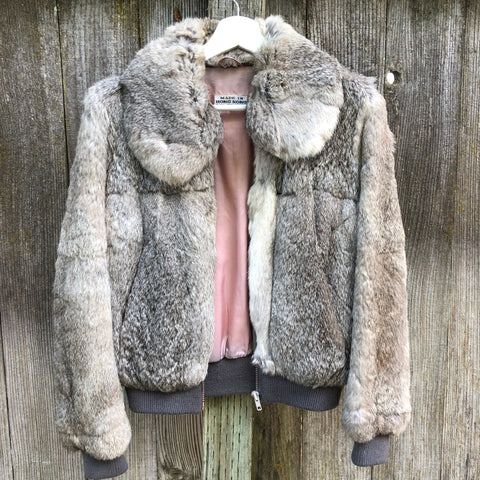 Vintage grey rabbit fur bomber jacket