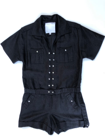 Black linen romper with silk lining