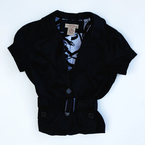 Black satin short sleeve blazer