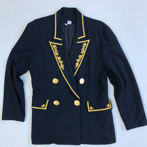 Navy blue blazer with big gold buttons and trim