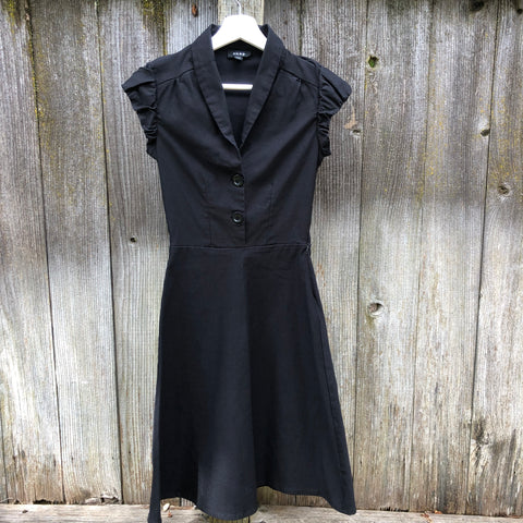 1950s inspired black short sleeve dress