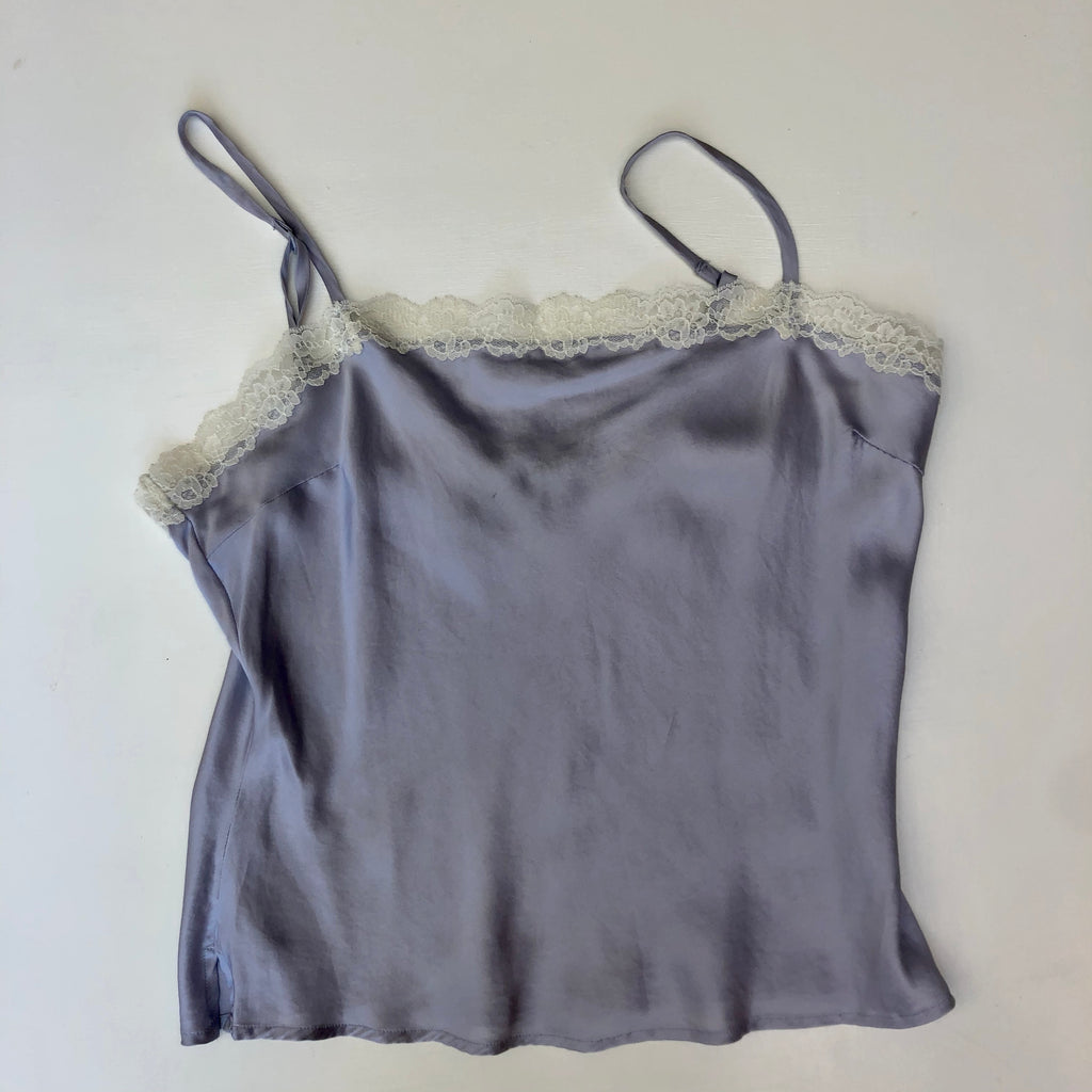 Periwinkle silk camisole with lace