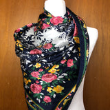 Blue and yellow floral large silk scarf