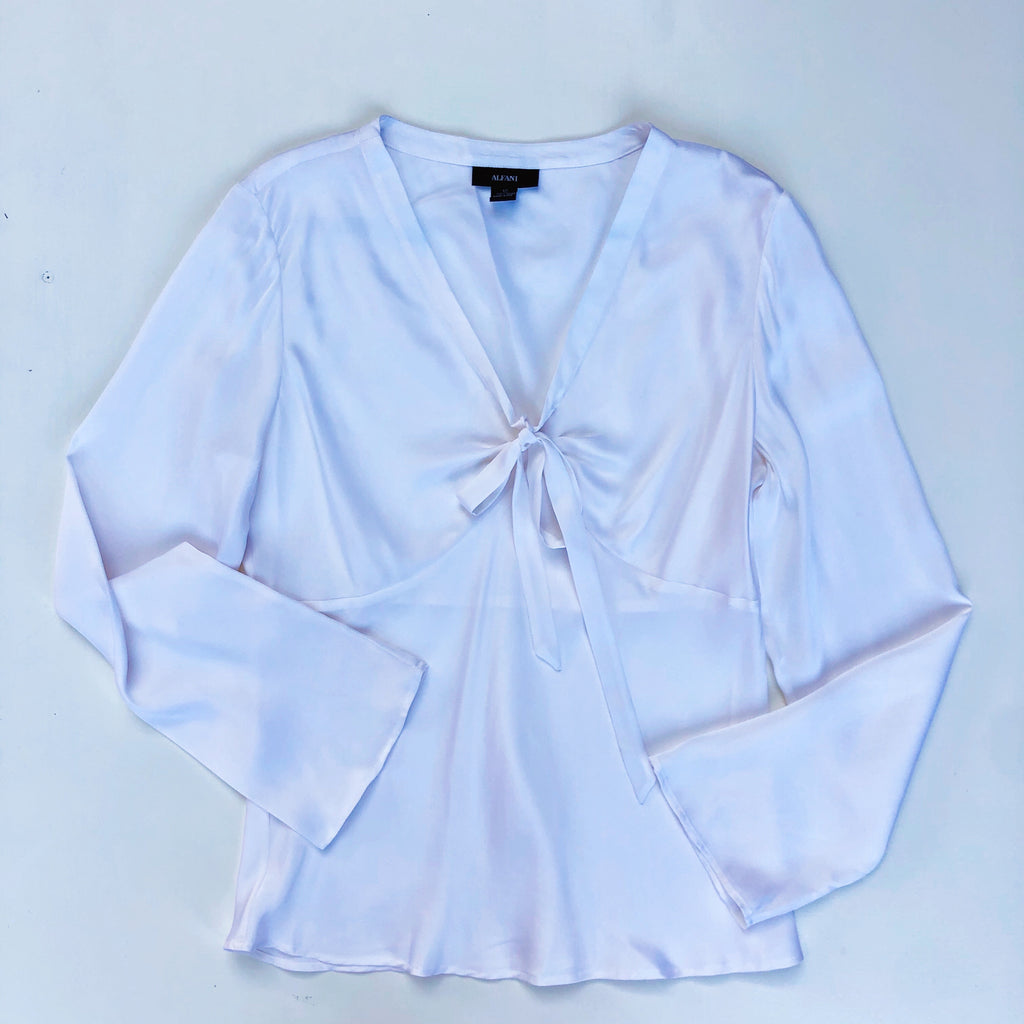 White silk blouse with v-neck