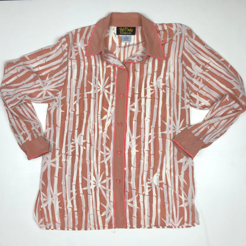 Peach bamboo print silk button down with pink trim