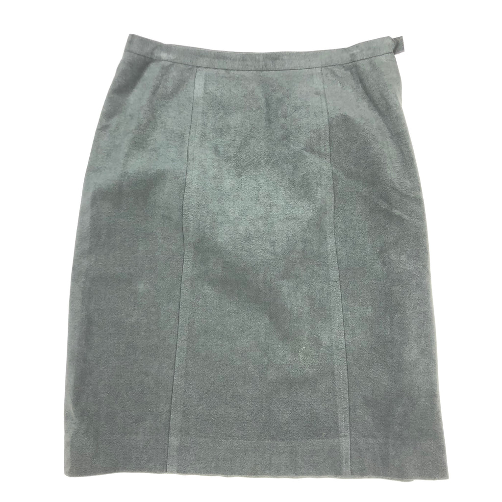 Gray suede knee length skirt