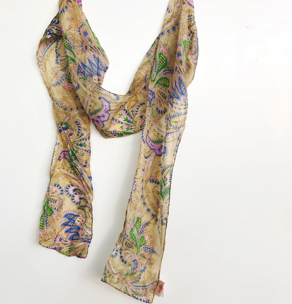 Golden floral long ribbon silk scarf