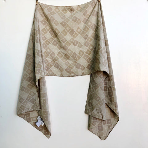 Linda Hutton beige checkers ribbon silk scarf