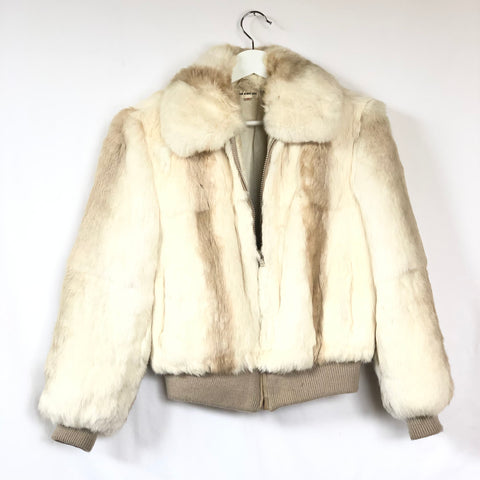 Cream colored real rabbit fur bomber jacket