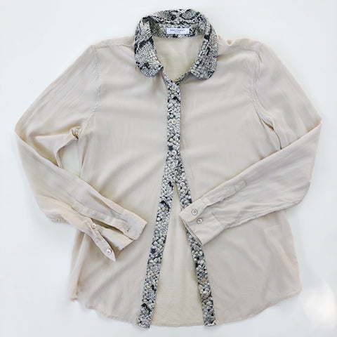 Cream silk blouse with snake skin print
