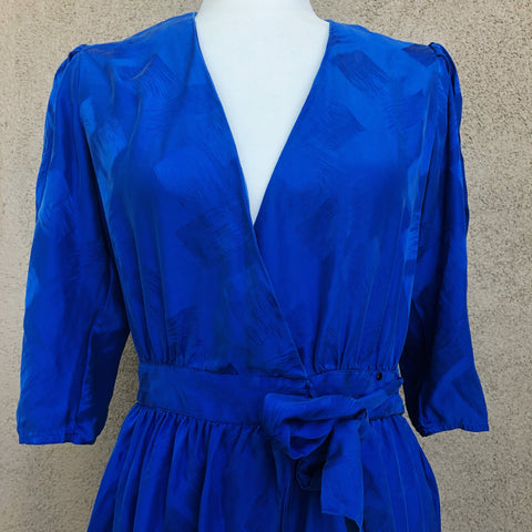 Bright blue silk wrap dress