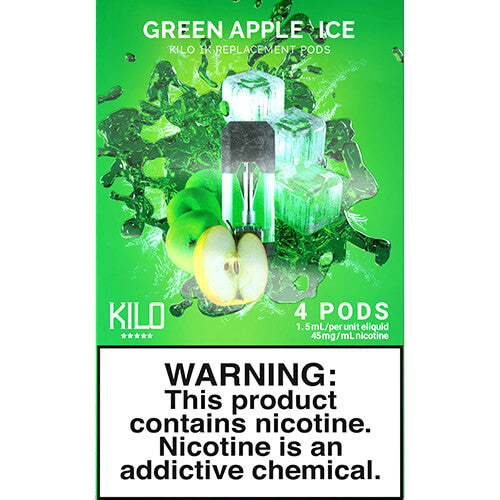 Kilo eLiquids 1K Vaporizer Device - Refill Pod - Green Apple ICE (4 Pack)