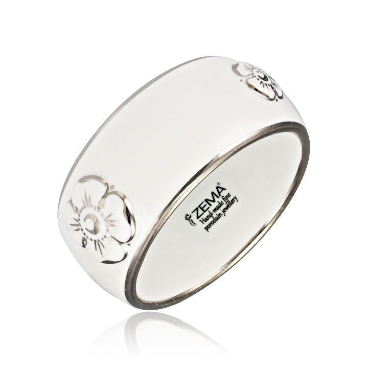 Forget-me-not White and Platinum Fine Porcelain Wide Bangle at 3 Barn Swallows, $322