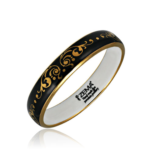 Baroque Black and Gold Fine Porcelain Bangle at 3 Barn Swallows, $148
