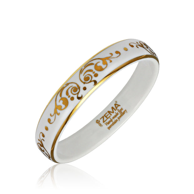 Baroque White and Gold Fine Porcelain Bangle by SAZIBE Porcelain