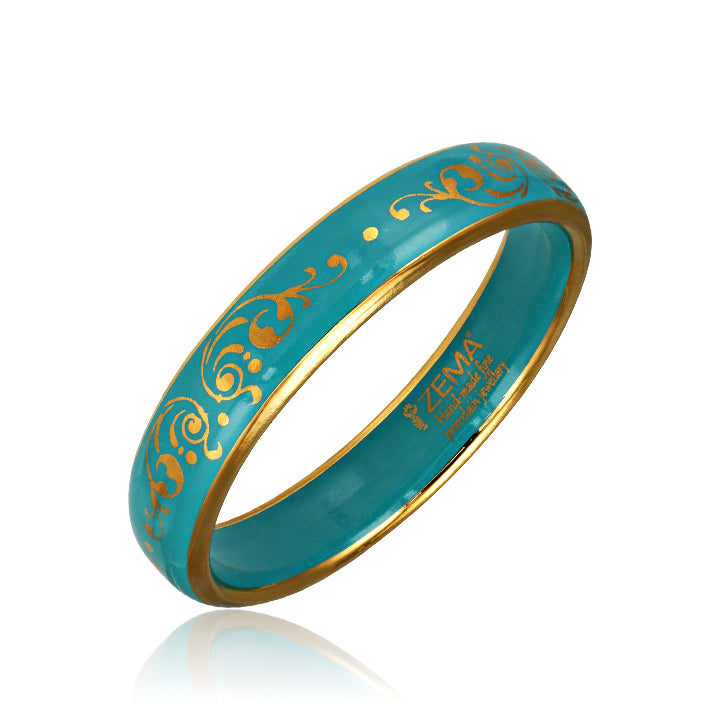 Baroque Mint-Green and Gold Fine Porcelain Bangle at 3 Barn Swallows, $148