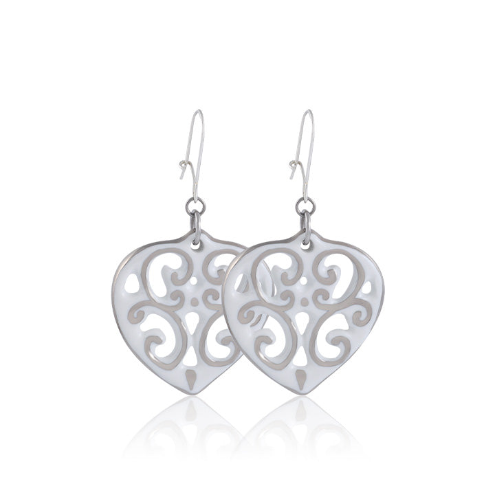 Aero White and Platinum Fine Porcelain Heart Earring by SAZIBE Porcelain