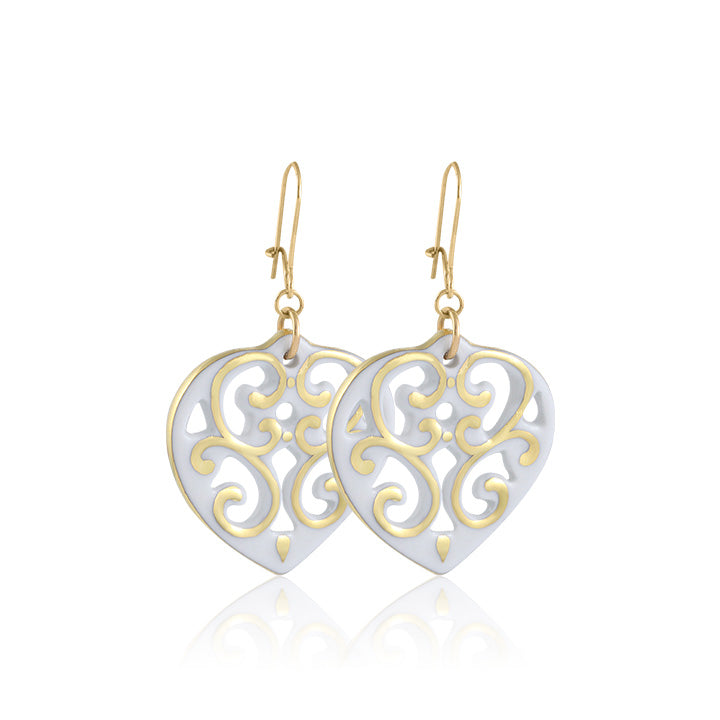 Aero White and Gold Fine Porcelain Heart Earring by SAZIBE Porcelain