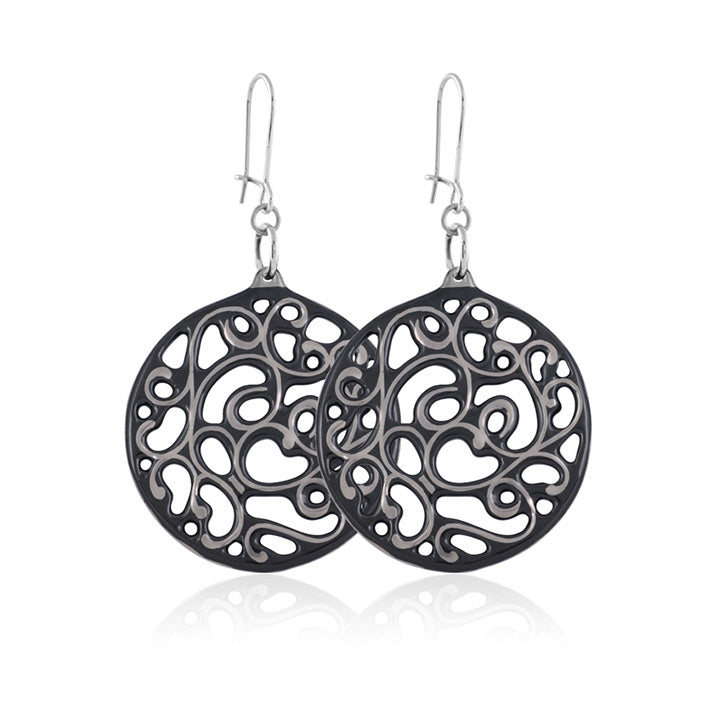 Aero Black and Platinum Fine Porcelain Earring 40mm by SAZIBE Porcelain