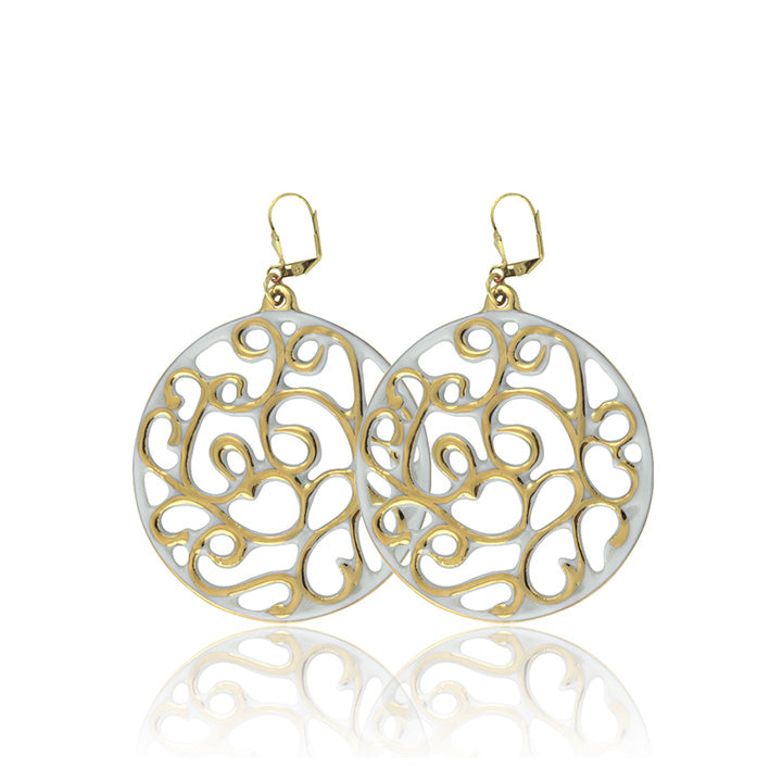 Aero White and Gold Fine Porcelain Earring 40mm by SAZIBE Porcelain