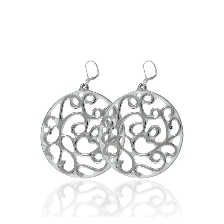 Aero White and Platinum Fine Porcelain Earring 40mm at 3 Barn Swallows, $216