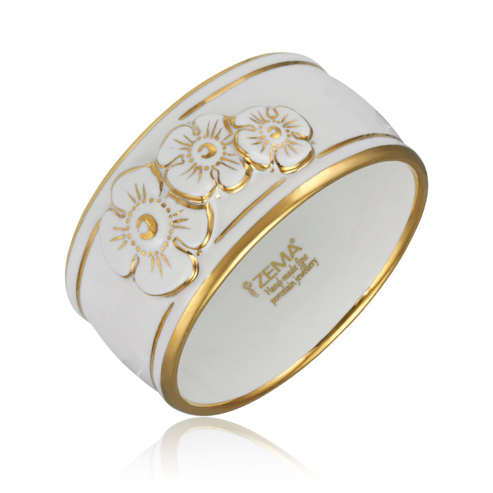 Flowers White and Gold Fine Porcelain Wide Bangle at 3 Barn Swallows, $322