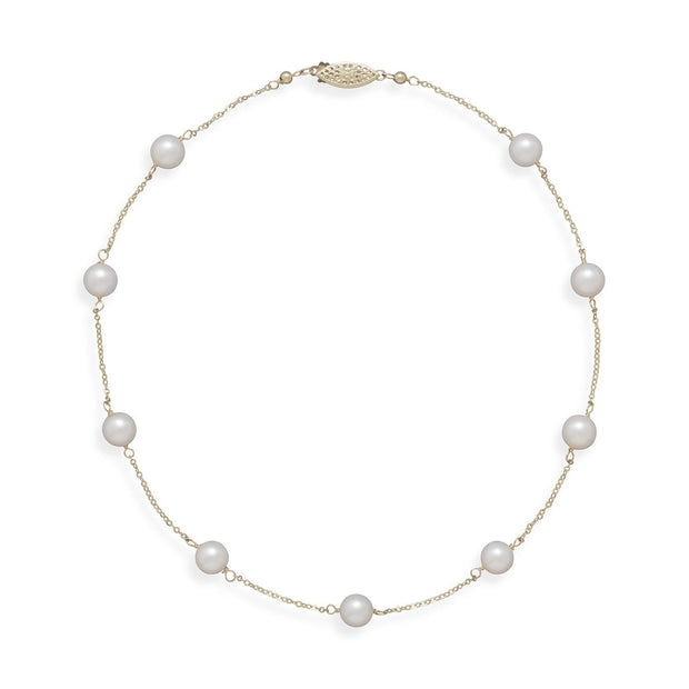 "16"" 14 Karat Yellow Gold Chain with 7mm Grade A Cultured Akoya Pearls"
