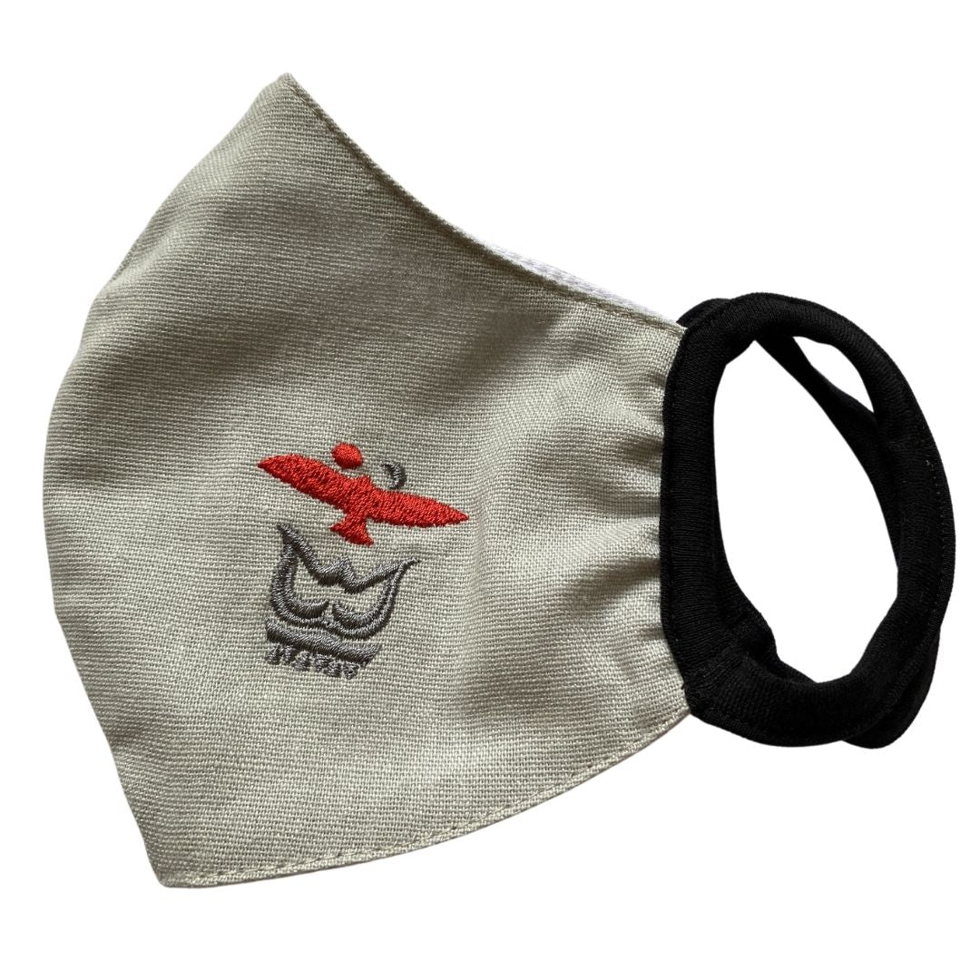 Embroidered Performance Cloth Face Mask Flax Light Grey Sun Cross Folk Pattern – Impala No.23