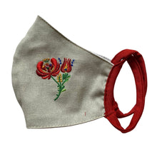 Embroidered Performance Cloth Face Mask Flax Light Grey Matyo Folk Pattern – Mustang No.21 at 3 Barn Swallows, $18
