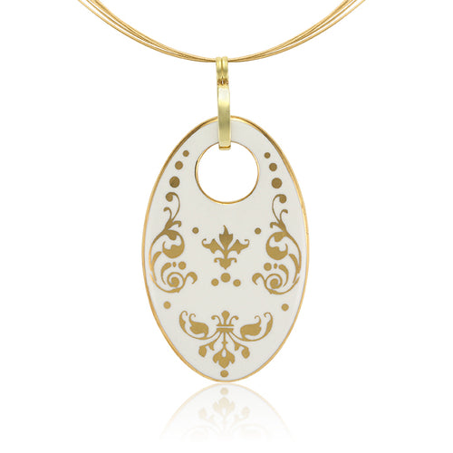 Baroque White and Gold Fine Porcelain Oval Necklace at 3 Barn Swallows, $200