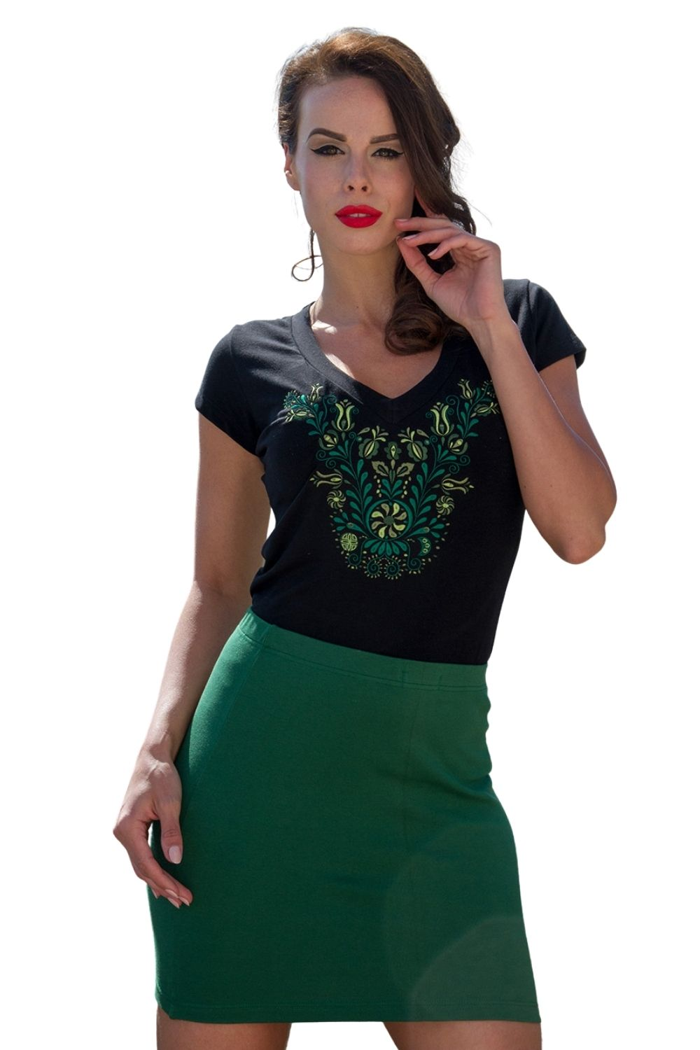 Jaszsagi Embroidered Women's T-shirt Black With Green Motif 'V' Neck at 3 Barn Swallows, $41