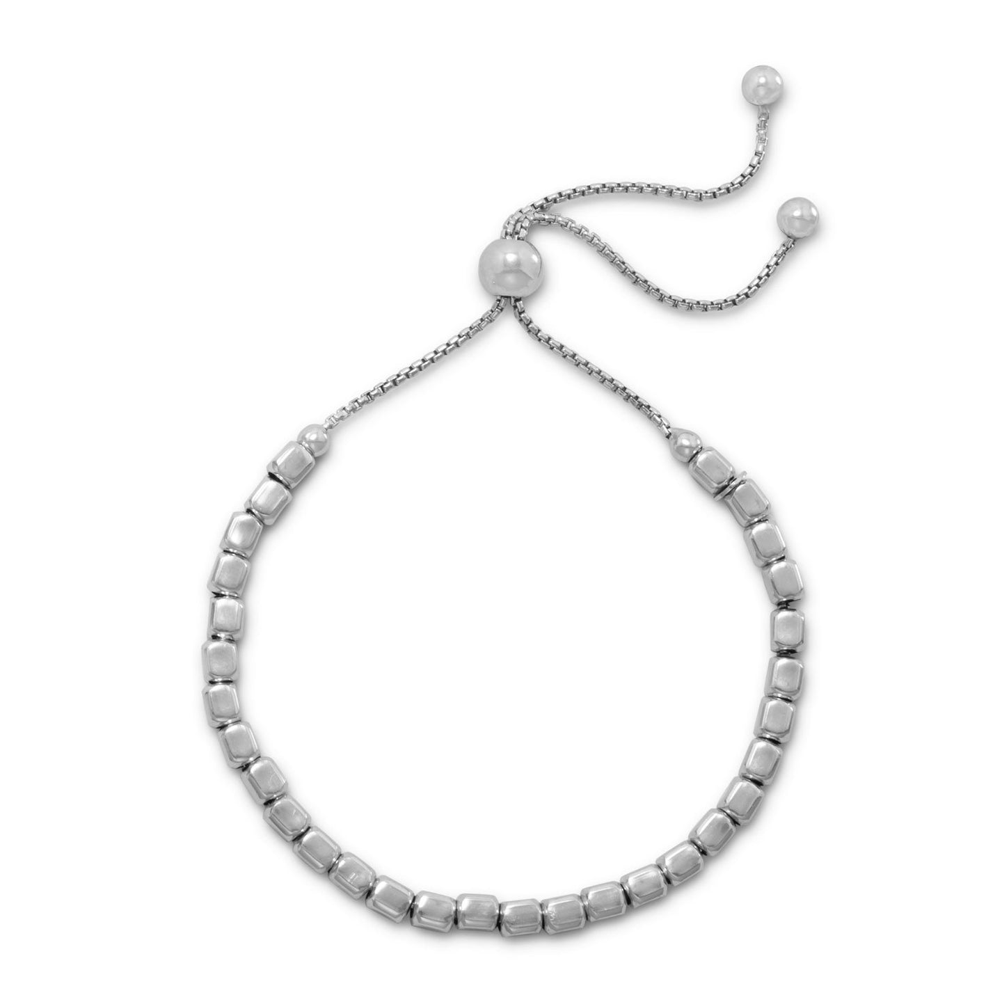 Rhodium Plated Square Bead Bolo Bracelet at 3 Barn Swallows, $59