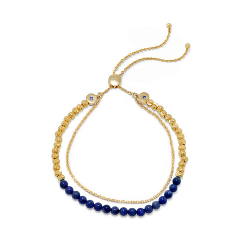 18 Karat Gold Plated Double Strand Lapis Bolo Bracelet at 3 Barn Swallows, $107