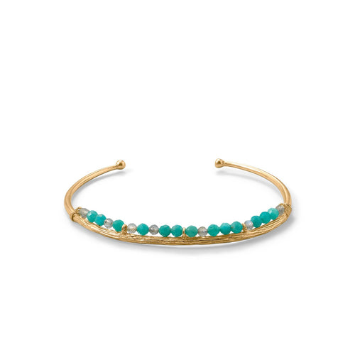 14 Karat Gold Plated Amazonite and Labradorite Cuff at 3 Barn Swallows, $114